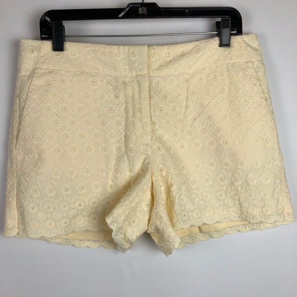 LOFT Pants - LOFT Shorts Eyelet Butter Yellow Scalloped Hem